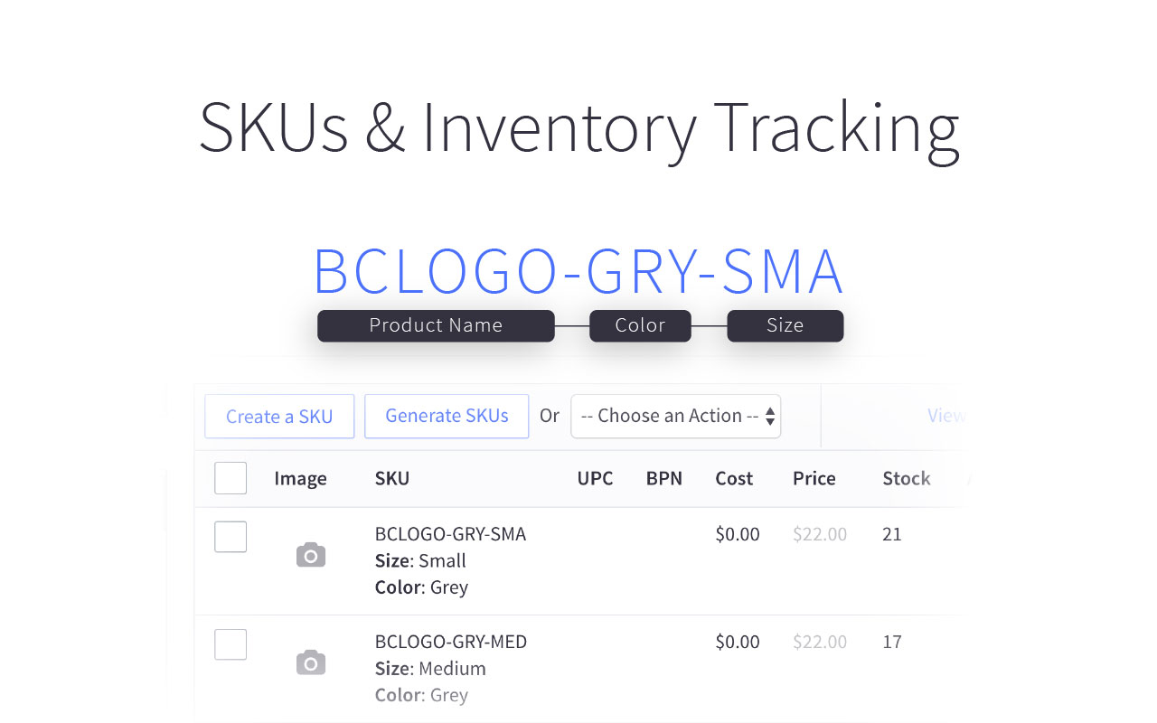 SKUs & Tracking Inventory